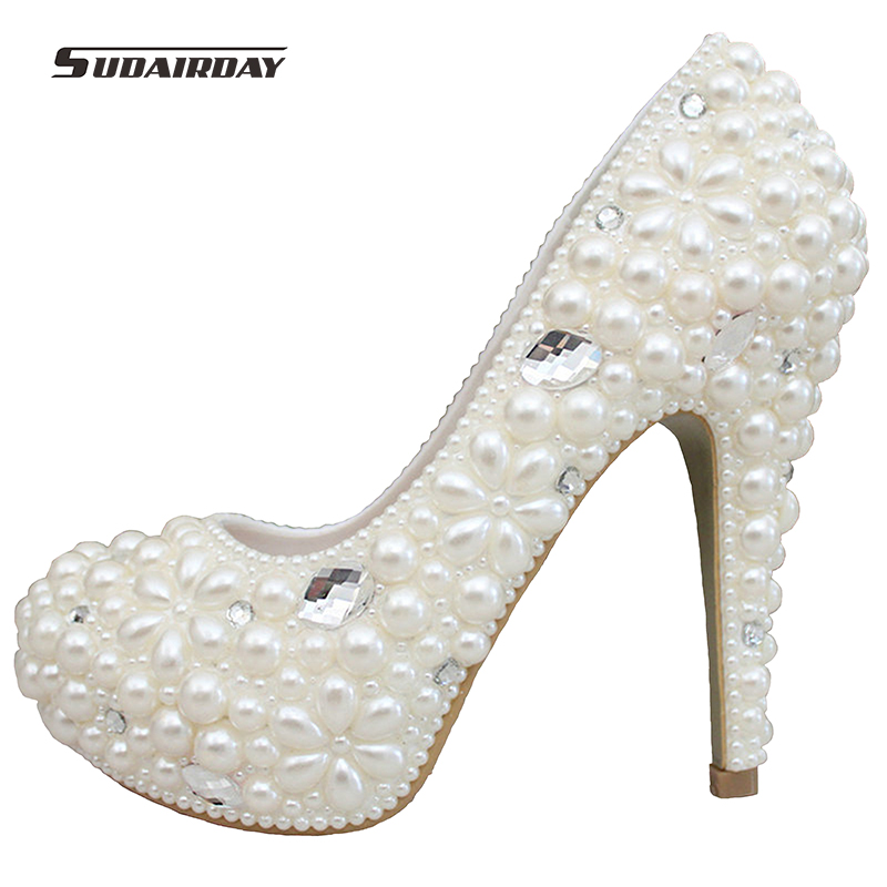 2017 women shoes handmade luxury pearl crystal diamond wedding shoes platform bridal shoes female high heels dress shoes pumps
