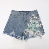 Hot Pants with Heavy Nailing Beads Three dimensional Flower Embroidery Holes Denim Jean Shorts Summer Women's Brim rimmed Jeans