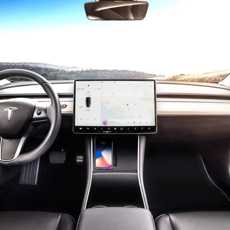 Chargeur de voiture sans fil Console centrale double téléphones chargeur Portable pour Tesla modèle 3 WIF66