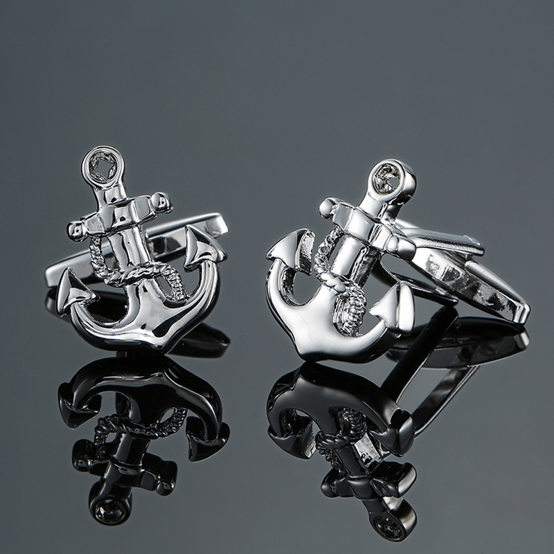 Jewelry & Accessories Nice Dy The New High Quality Brass Silver Anchor Cufflinks Fashion Mens French Shirt Cufflink Free Shipping Jewelry Sets & More