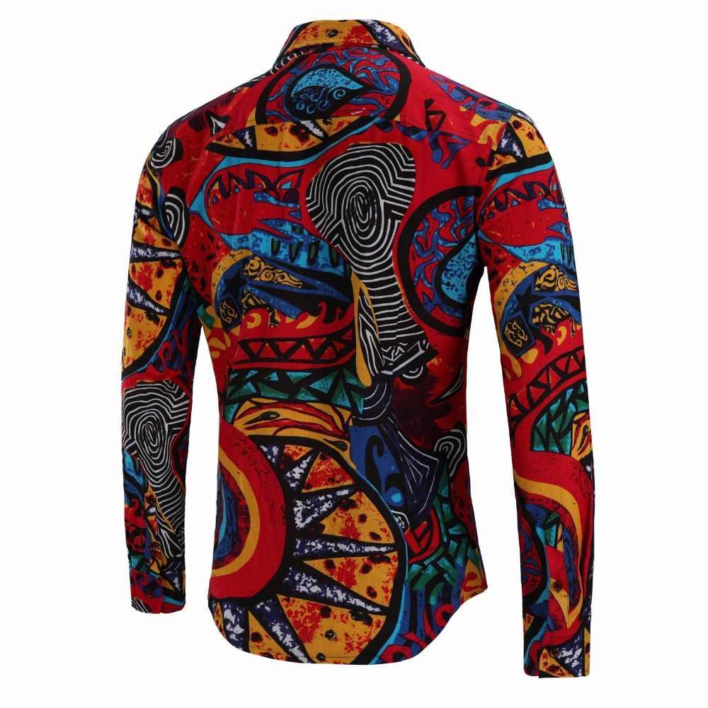 Мужские рубашки с длинным рукавом модные цветочные печати мужские рубашки брендовая одежда Повседневная рубашка большого размера C801
