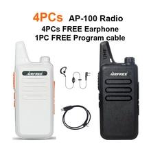 4PCs AP-100 Ultra-thin Mini Walkie Talkie better than BF-888S UHF long range WLN KD-C1 Two-Way Radio with USB programming cable