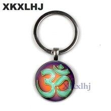 XKXLHJ Vintage Mandala & AUM OM Symbol Keychain Glass Cabochon Time Gem Pendant Key Ring Religion Zen Yoga Lovers Boho Jewelry