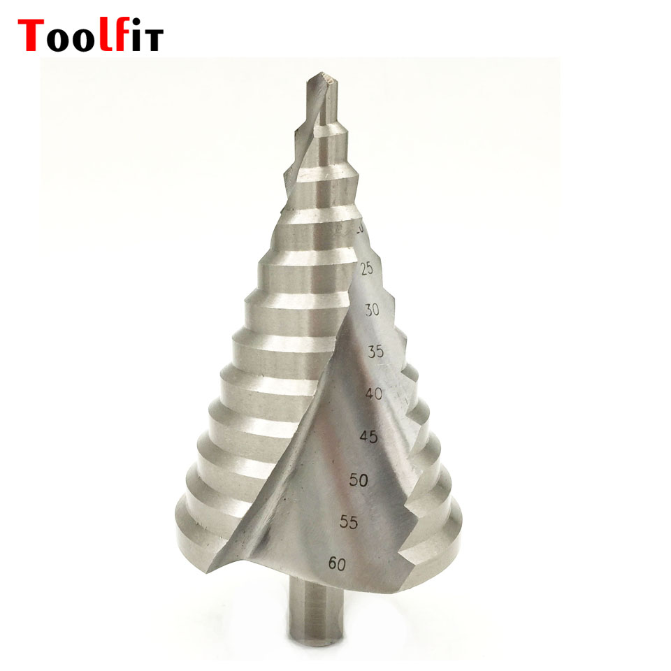 Toolfit 1pc 6-60mm 12 Steps High Speed Steel Step Drill Bit Wood Metal Drilling 13mm Hex Shank Drill  Power Tools Accessories 13pcs set hss high speed steel twist drill bit for metal titanium coated drill 1 4 hex shank 1 5 6 5mm power tools accessories