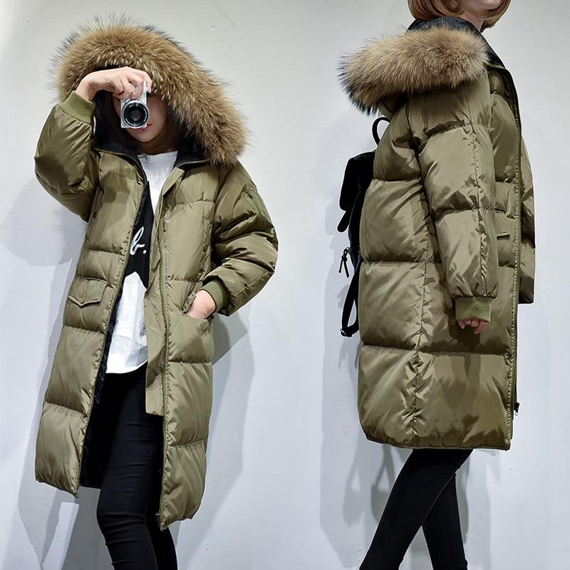 2018 New Winter Natural Raccoon Fur Parkas Women Duck Down Hooded Jackets Thickening Wadded Coats Feminos Long Overcoat