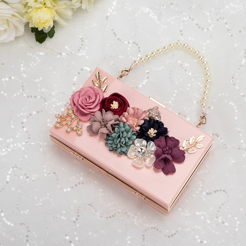 LJL-Luxury Dinner Party Bag Three-Dimensional Pearl Flower Tote/Small Square Bag/Clutch