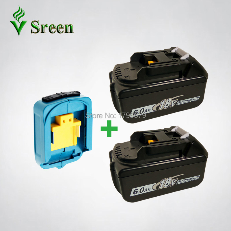 2PCS BL1860 6000mAh Rechargeable Li-ion Battery Replacement for Makita 18V BL1840 BL1830 LXT Power Tools with Dual USB Converter 3pcs set 18v lithium li ion battery 3000mah rechargeable replacement power tool battery for makita li ion lxt 18v machines