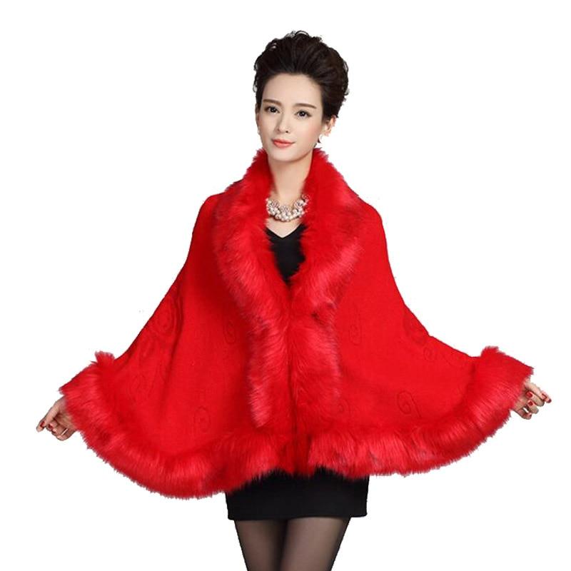 Womens leather grass fox fox fur collar poncho cape for Winter shawls for wedding dresses