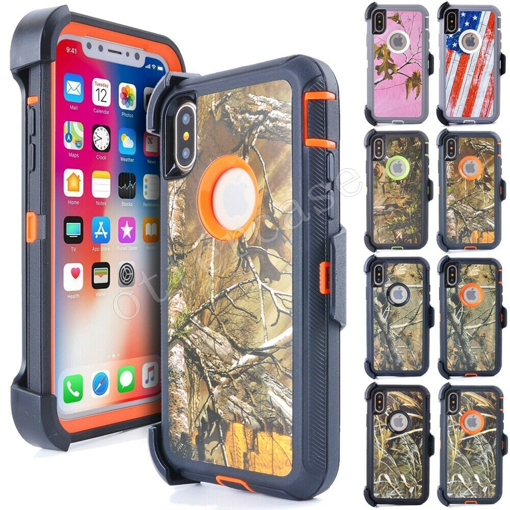 Luxury Heavy Duty Protection Phone <font><b>Case</b></font> For <font><b>iPhone</b></font> X XS Max <font><b>XR</b></font> 6 6s 7 8 Plus Defend Camo Armor <font><b>Case</b></font> Cover With Clip <font><b>Belt</b></font> Holster image