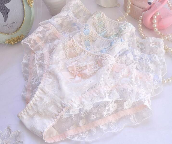 2019 New Arrival 100% Real Photo M L XL Lovely Lolita Kawaii Princess Lace Bridal Panties Knicker Underwear Brief Thong WP563(China)