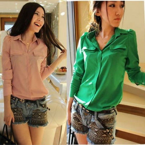 0dacb9d7ed61d Women' Chiffon Blouse Candy Color Long Sleeve Button Down Shirt Shoulder  Padded Top Pink Green S-3XL