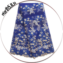Royal Blue 3D Lace Fabric 2018 High Quality Purple Latest African Women Nigerian French Net Swiss With Beads