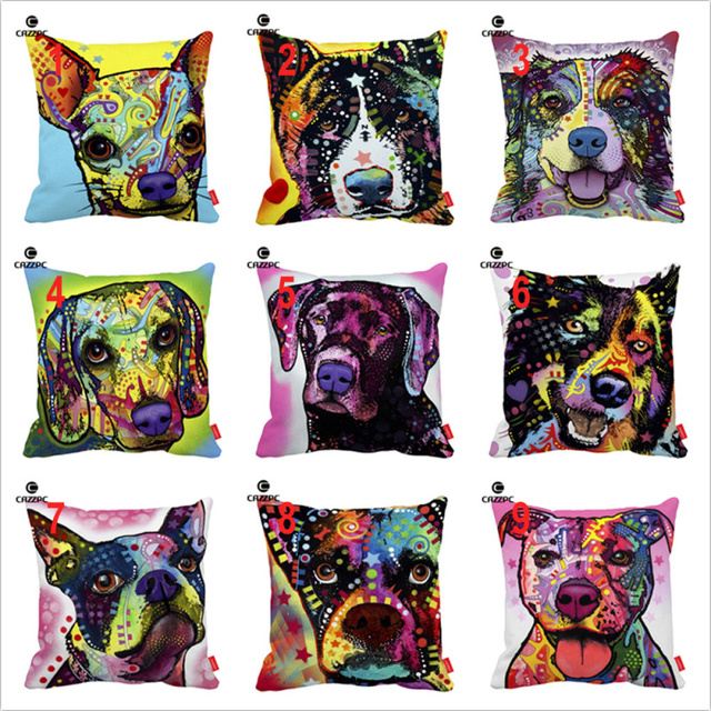 Dean Russo Art Akita Collie Boston Terrier Boxer Dog Print Custom  Decorative Pillowcase Cushion Covers Sofa