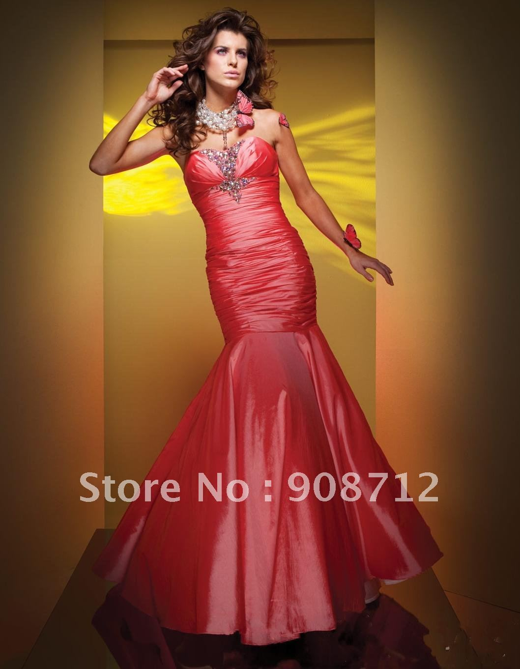 Top Designer Style ! Strapless Taffeta Mermaid Wedding Evening Gowns ...