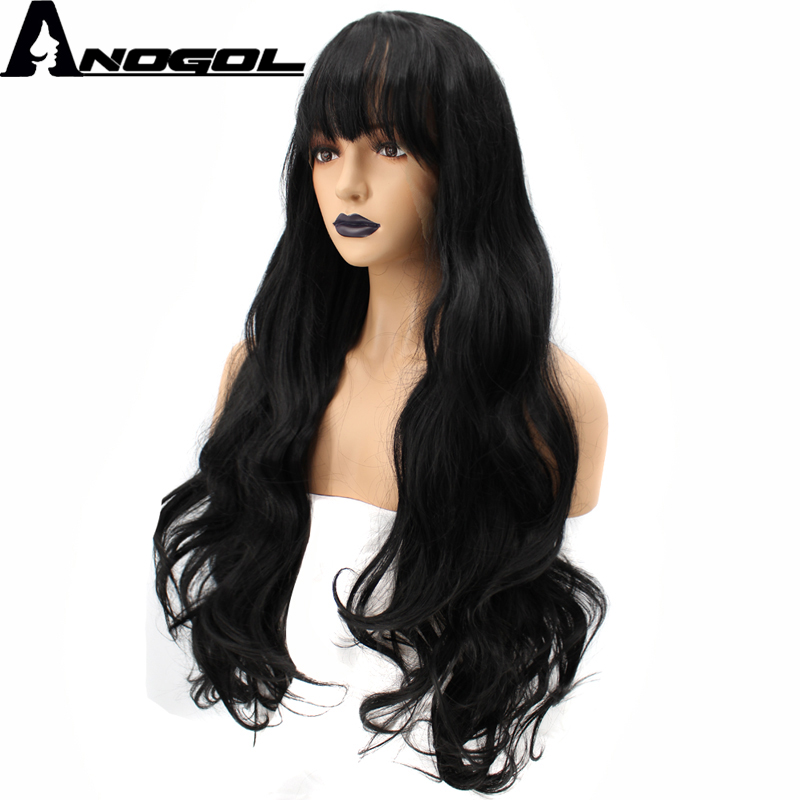 Anogol High Temperature Fiber Hair Fringe Natural 1B Black Long Body Wave Synthetic Lace Front Wig For White Women With Bangs
