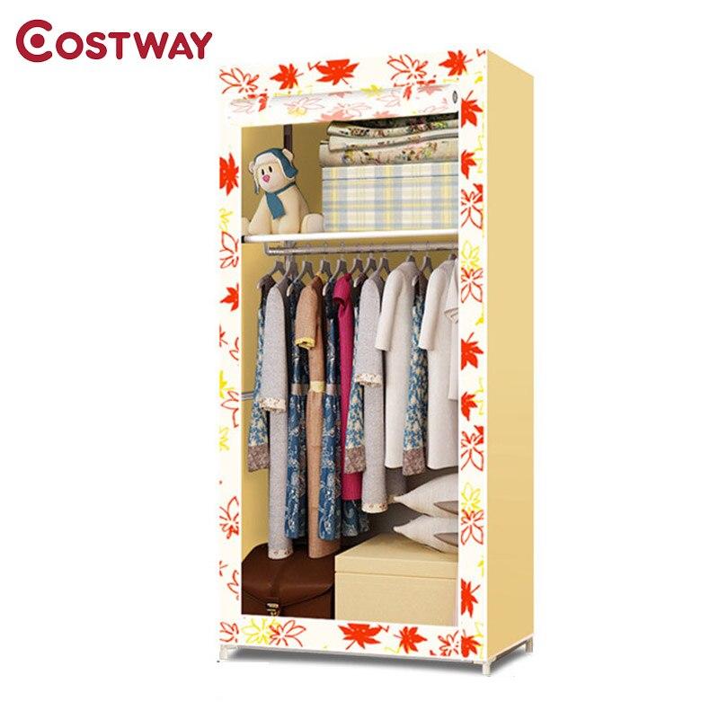 COSTWAY Bedroom Non-woven Wardrobes Cloth Storage Saving Space Locker Closet Sundries Dustproof Storage Cabinet W0124