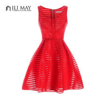 Women Clothing Textured Fit Flare Dress Hollow Out Dress Sleeveless Black Red White Sexy Club Dress