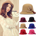 Retro Female Woolen Fedora Hat Casual Chapeau Cap Wide Brim Flower Wool Felt Bowler Hat Lady Floppy Cloche Chapeu Feminino W5