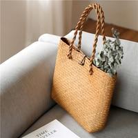 Seaweed flower basket Vintage wind hand woven seaweed handbag sundries storage bag ornament