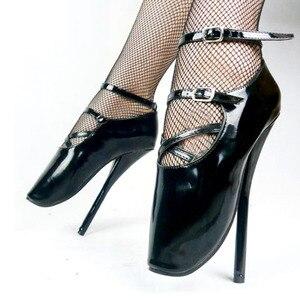 "Image 4 - ยี่ห้อใหม่ 7 ""ส้นสูงเซ็กซี่แสดงสาวบัลเล่ต์ปั๊มSpike Stiletto Pointed Toe Strappyข้อเท้าสีดำสีแดงรองเท้า"