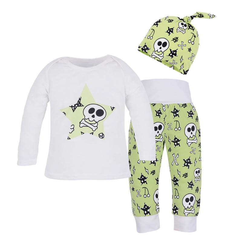 3pcs Baby Skull Printed Clothes Set Infant Boy Girl Long Sleeve T-shirt+Long Pants+Hat Newborn Outfits Fashion Boys Clothing 2pcs set baby clothes set boy