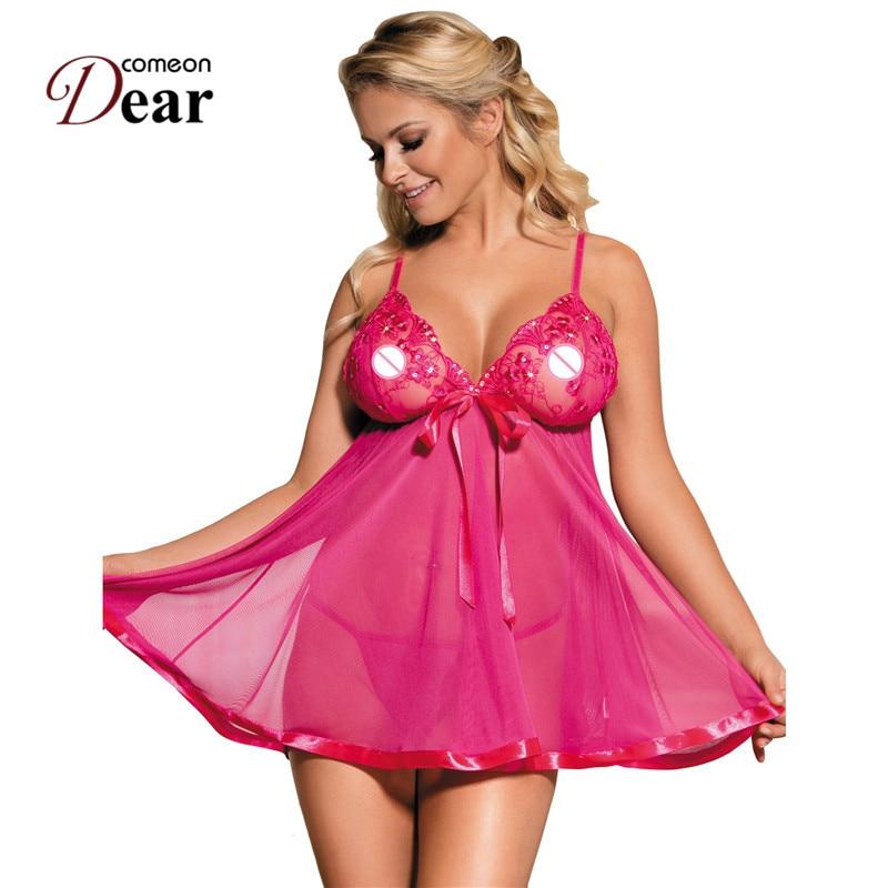 Comeondear Women Night Dress Sleepwear Lingerie Nuisette Camisones De Dormir Sexi Babydoll Floral Embroidery Plus Size Nightgown