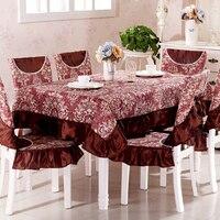 Top quảng trường lớp bàn ăn ghế vải bảng đệm và ghế bó ghế cover ren mộc mạc vải set khăn trải bàn