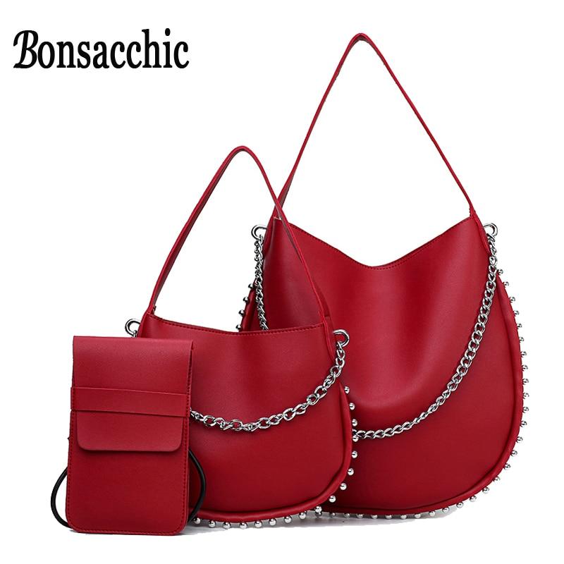 Bonsacchic 3pcs PU Leather Bag Women Bucket Bag Set Luxury Handbags Women Bags Designer Red Ladies Handbags Set sac a main rouge