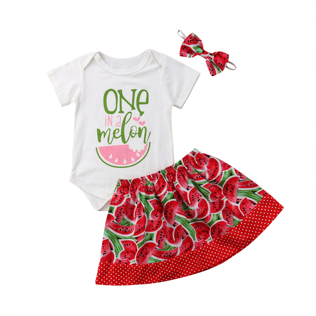 2514a9b2c38d Summer 3PCS Newborn Baby Girl Outfits Short Sleeve Bodysuit Tops Watermelon  Skirt Headband Toddler Kids Clothes