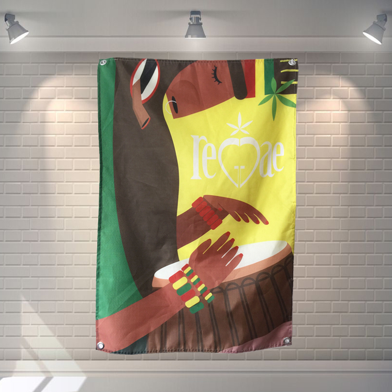 Drummer Jamaica Reggae Heavy Metal Music Poster Scrolls Bar Cafes Home Decor Banners Hanging Art Waterproof Cloth Decoration