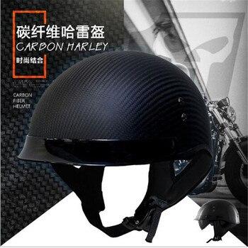 2018 мотоциклетные половина Уход за кожей лица шлем Для мужчин capacetes Профессиональный Гонки шлем углеродного волокна темно-Len КАСКО motocicleta