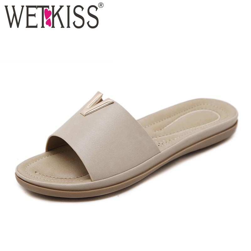 WETKISS New Casual Women Slippers 2018 Summer Fashion Ladies Mules Shoes Open Toe Square Heels Metal Decoration Slides Footwear