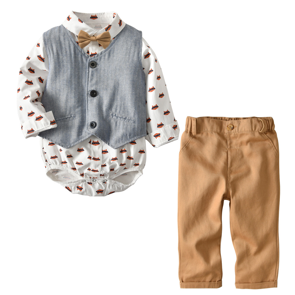 Baby Boy Outfit Autumn Toddler Jacket Long Sleeves Cartoon Romper Brown Pants Bowknot 2pcs/Set Winter for