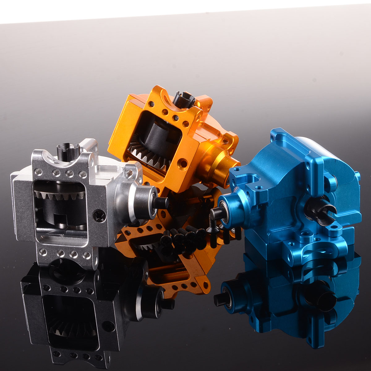 Aluminu Front/Rear Gear Box Complete 06063/06064 Upgrade For RC 1/10 HSP RedCat HSP 1/10 94122/94166/94188 front gear box housing complete set drive