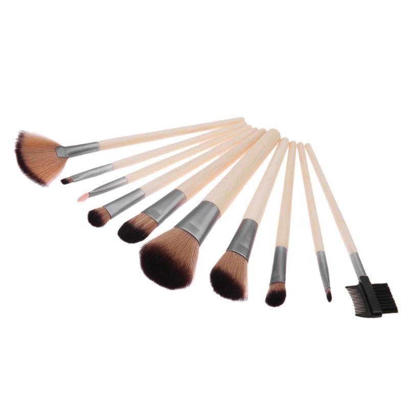 10pcs Makeup Brushes Kit Bamboo Handle Fiber Brush Hair Eyeshadow Eyelash Blusher Powder Brushes Professional Cosmetic Tools Set