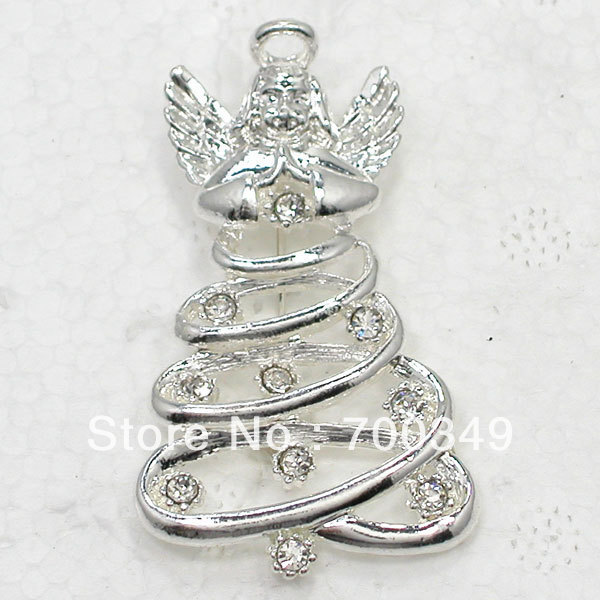 Fashion Silver Plated Brooch Wholesale 12Piece/lot Clear Crystal Rhinestone Angel Christmas tree jewelry Gift Brooches pin C2124
