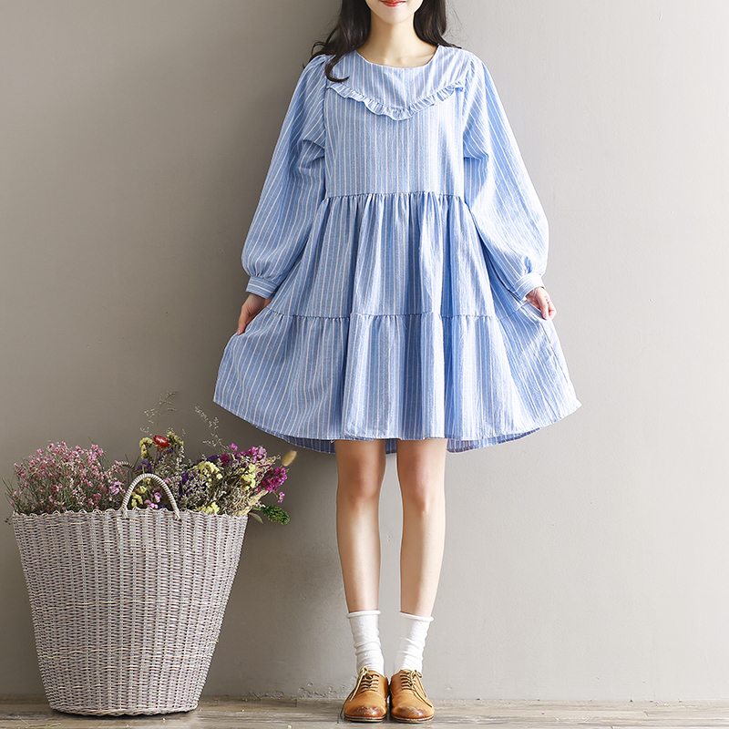Shop911971 Store Mori Girl Dress Plus Size Women Clothing 2017 Spring Summer Preppy Style Fresh Casual Lantern Sleeve Cotton Linen Dress Striped
