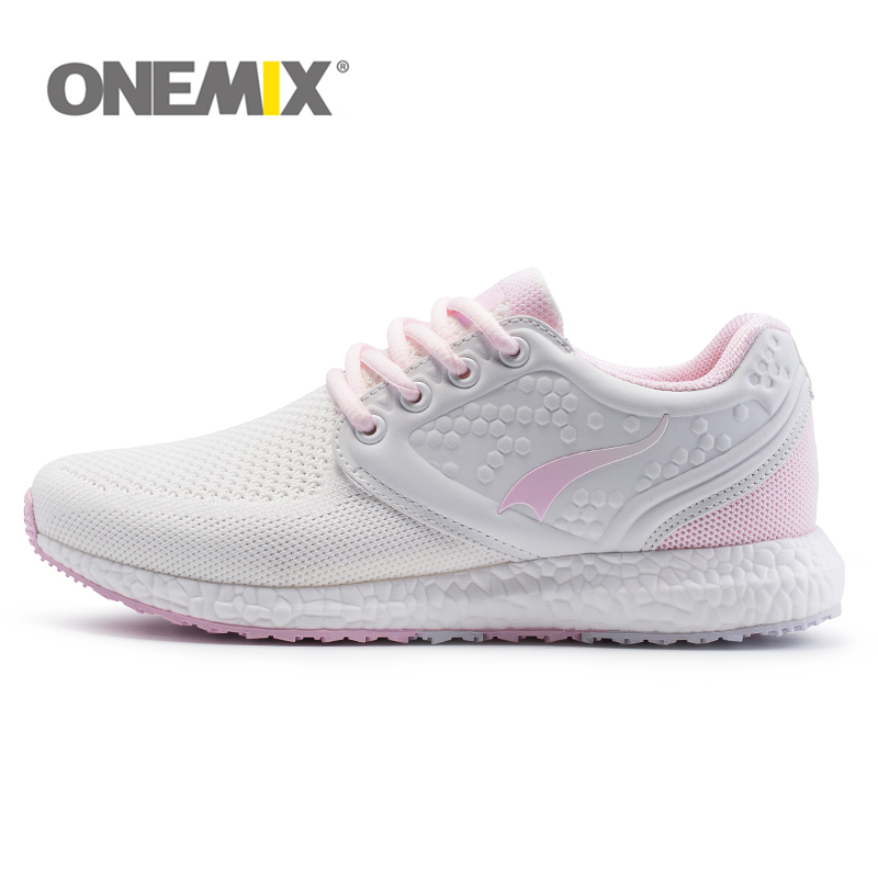 цена на ONEMIX Women Air Mesh Running Shoes For Women Breathable Knitting Walking Sneakers Athletic Outdoor Sports Training Shoes