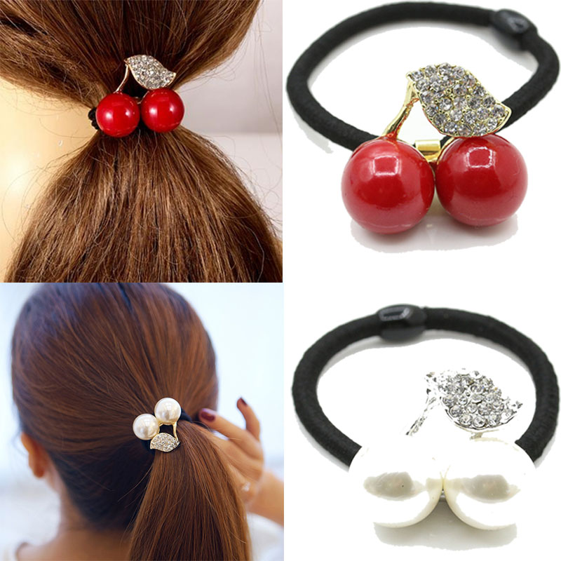 New Fashion Women Leaf Cherry Elastic Crystal Rubber Band Ponytail Holders Hair Accesoires