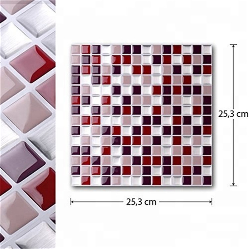 6Sheets Mosaic Self Adhesive Wall Tiles Sticker DIY Square Stick On Tile Decor