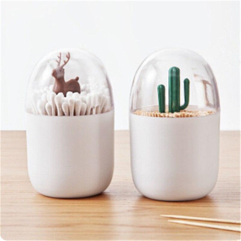 Onbaatzuchtig Nieuwe Plastic Tandenstoker Box Cactus Boom Konijn Herten Organizer 1 Stks Creatieve Wattenstaafje Doos Wattenstaafje Holder Case Tafel Versieren Pure Witheid