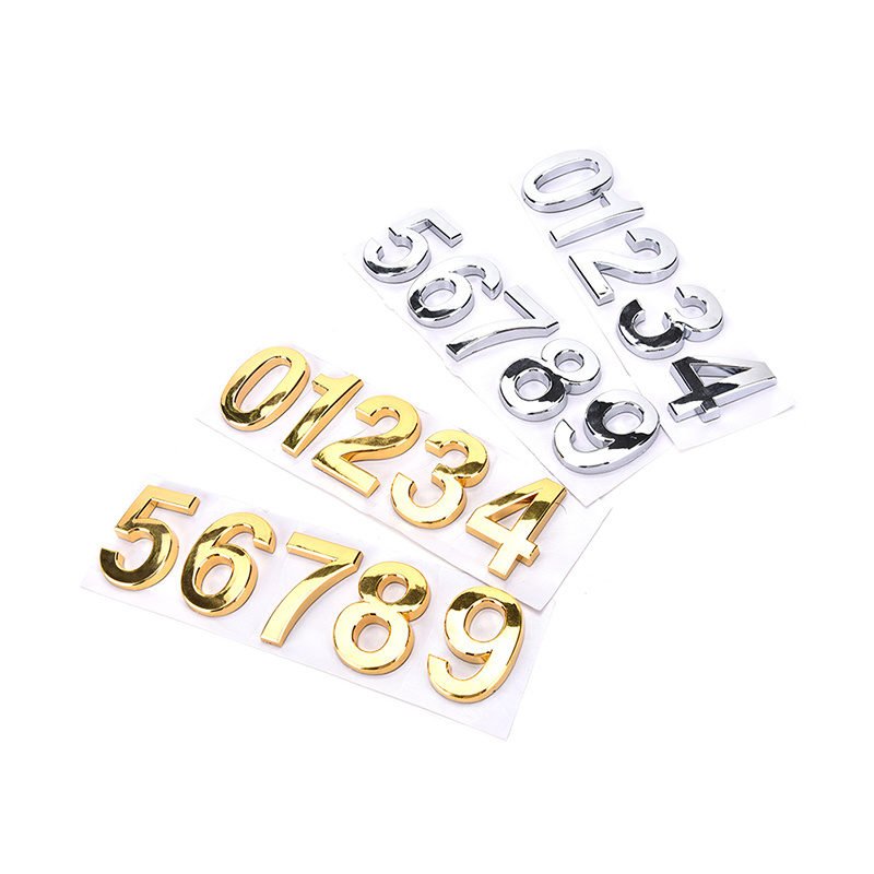 Siver/gold 0-9 House Door Address Number Digits Numeral Plate Plaque Room Gate Sticker Plate Sign Home Hotel Door Gate Numbers aluminum house number door sign plaque brushed finish