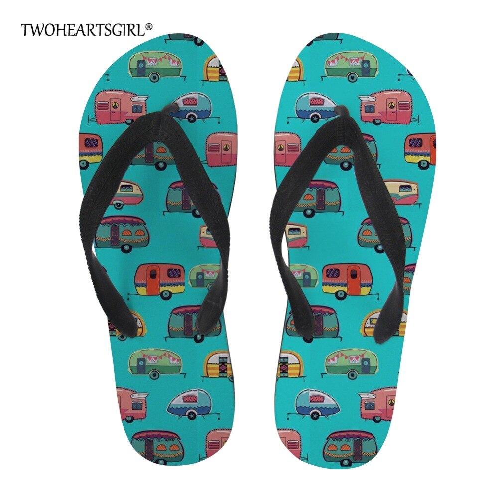 Women's Shoes Twoheartsgirl Blue Camper Caravan Pattern Slippers For Women Unique Summer Beach Flip Flops Novelty Ladies Flipflops Plus Pretty And Colorful Shoes