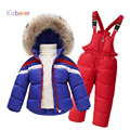 2016 Inverno Meninos Snowsuit Conjunto Terno de Esqui das Crianças Para O Bebê menina Macacão De Neve Ntural Fur Jaquetas + Calças Roupas conjuntos