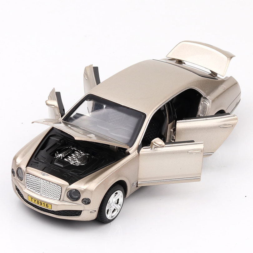 New Model 1/32 Mulsanne Simulated Off-road Vehicle Model 6 Open Doors, Sound And Light Echo Function Toy Car Kids Collection