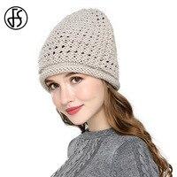FS Quality Pure Hand Crochet Women Wool Beanies Hollow Out Pattern 2017 Autumn Winter Warm Skullies
