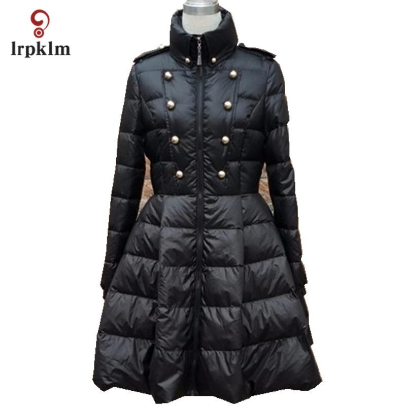 2017 New Fashion Women Winter Middle Long Down Jackets High Collar Female Warm Duck Down Coat Black White PQ137
