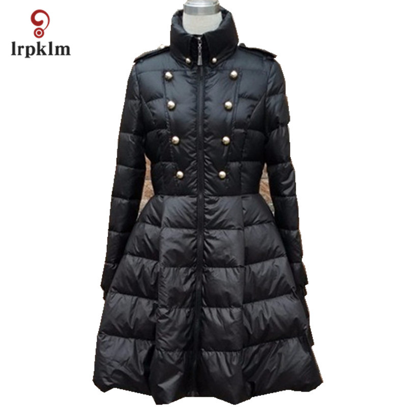 2017 New Fashion Women Winter Middle Long   Down   Jackets High Collar Female Warm Duck   Down     Coat   Black White PQ137