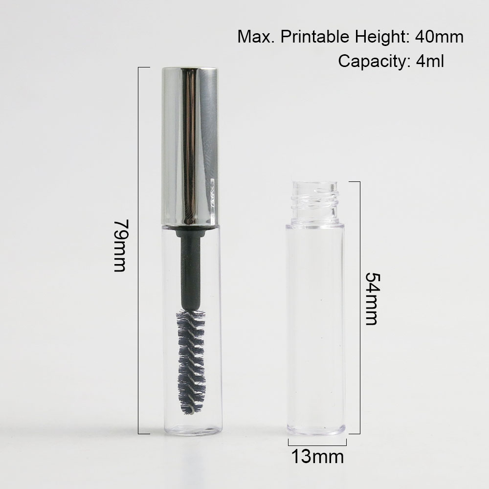 5Pcs Silver Cap Plastic DIY Empty Mascara Tubes with Eyelash Wand Brush Eyelash Cream Container Bottle Vials 4ML in Refillable Bottles from Beauty Health