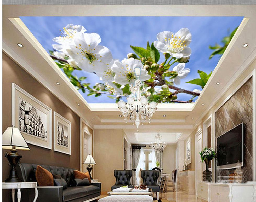 wallpaper 3d ceiling Sky cloud tree leaves orchid landscape ceiling murals Home Decoration room modern wallpaper 3d ceiling murals wallpaper aurora zenith living room ceiling mural custom photo murals wallpaper 3d ceiling